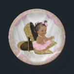 "Pink Gold High Heel Ethnic Baby Shower Paper Plate<br><div class=""desc"">Pink and gold high heel shoe baby shower invitation with adorable ethnic baby girl wearing a pink tutu and string of pearls sitting on a pair of elegant gold glitter high heel shoes on a pretty pink and gold satin background. These adorable pink and gold baby shower paper plates are...</div>"