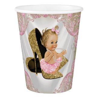 Pink Gold High Heel Shoe Baby Shower Paper Cup