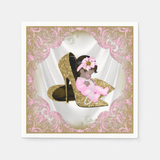 Pink Gold High Heel Shoe Ethnic Girl Baby Shower Napkin
