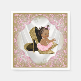 Pink Gold High Heel Shoe Etnic Girl Baby Shower Napkin at Zazzle