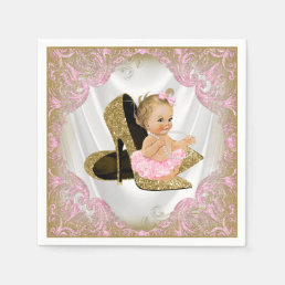 Pink Gold High Heel Shoe Pearl Girl Baby Shower Napkin