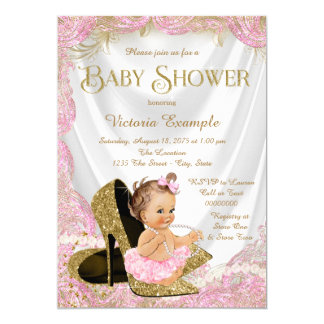 Pink Gold High Heel Shoes Pearls Baby Shower Card