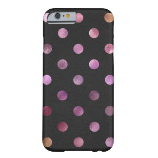 Pink Gold Holographic Metallic Faux Foil Polka Dot Barely There iPhone 6 Case
