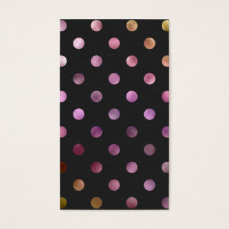 Pink Gold Holographic Metallic Faux Foil Polka Dot Business Card