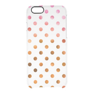 Pink Gold Holographic Metallic Faux Foil Polka Dot Clear iPhone 6/6S Case