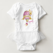 "Pink Gold Hot Air Balloon ""I've Arrived!"" Baby Bodysuit"