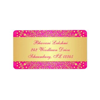 Pink, Gold Intricate Scrolls Return Address Label