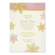 Pink Gold Ivory Snowflake Winter Baby Shower Card