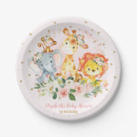 Pink Gold Jungle Animals Safari Floral Baby Girl Paper Plate