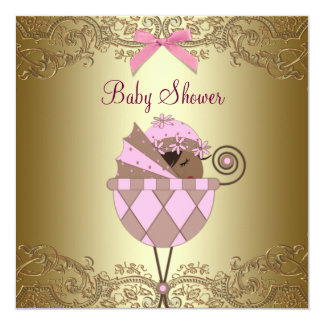 Pink Gold Lace Baby Girl Shower Invites