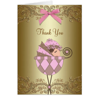 Pink Gold Lace Baby Shower Thank You Cards