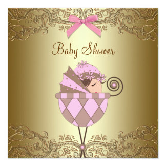 Pink Gold Lace Girl Baby Shower Invitations
