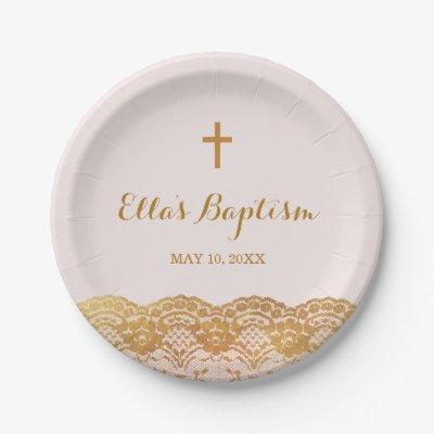 Custom Baptism Plates   Elegant Gold Flourish   Zazzle.com