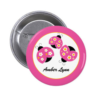 Pink & Gold Ladybugs Button