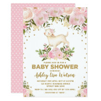 Pink Gold Lamb Baby Shower Blush Floral Invitation