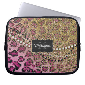 Pink Gold Leopard Animal Print Glitter Look Jewel Computer Sleeves