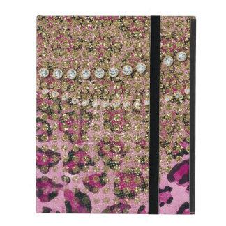 Pink Gold Leopard Animal Print Glitter Look Jewel iPad Folio Case