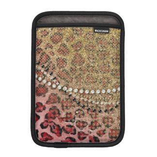 Pink Gold Leopard Animal Print Glitter Look Jewel Sleeve For iPad Mini