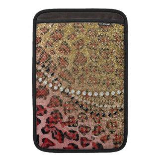 Pink Gold Leopard Animal Print Glitter Look Jewel Sleeve For MacBook Air