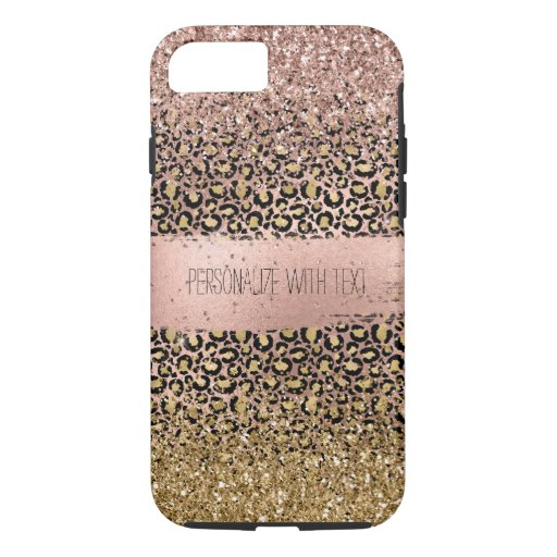 Pink Gold Leopard Print Sparkle iPhone 8/7 Case