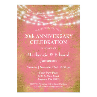 Pink Gold Lights Anniversary Party Invitation