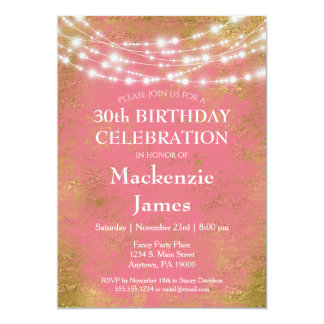 Pink Gold Lights Birthday Party Invitation Adult