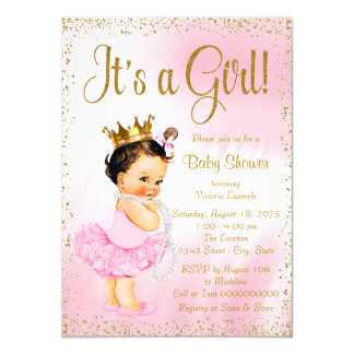 Pink Gold Little Ballerina Tutu Pearl Baby Shower Card