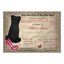 Pink Gold Little Black Dress bachelorette invite