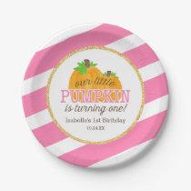 Pink Gold Little Pumpkin Girl First Birthday Paper Plate