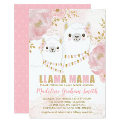 Pink Gold Llama Girl Baby Shower Blush Floral Invitation