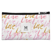 Pink & Gold Love Monogram Cosmetic Bag