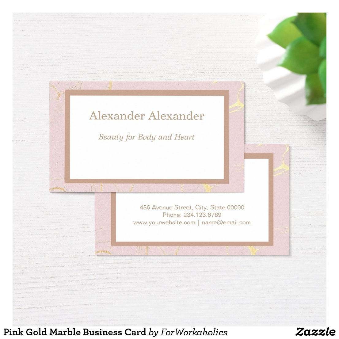 Pink Gold Marble Business Card