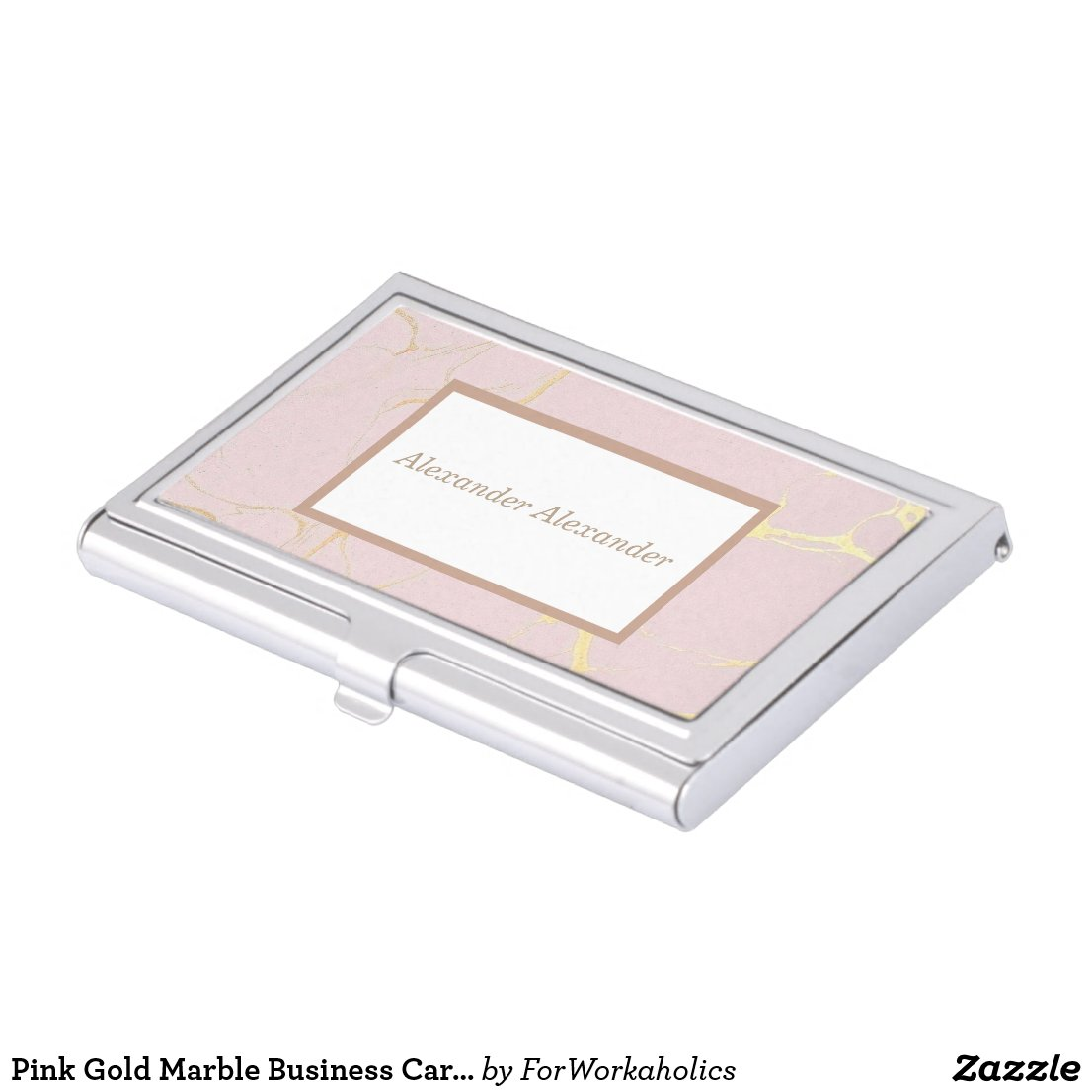 Pink Gold Marble Business Card Holder