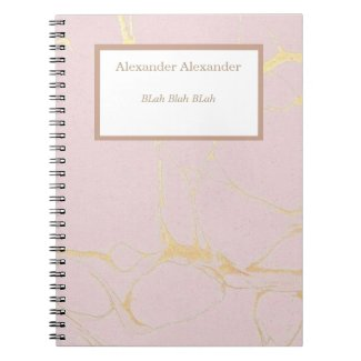 Pink Gold Marble NoteBook
