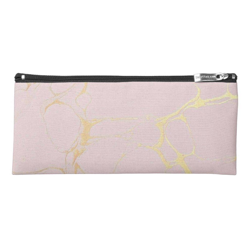 Pink Gold Marble Pencil Case Holder