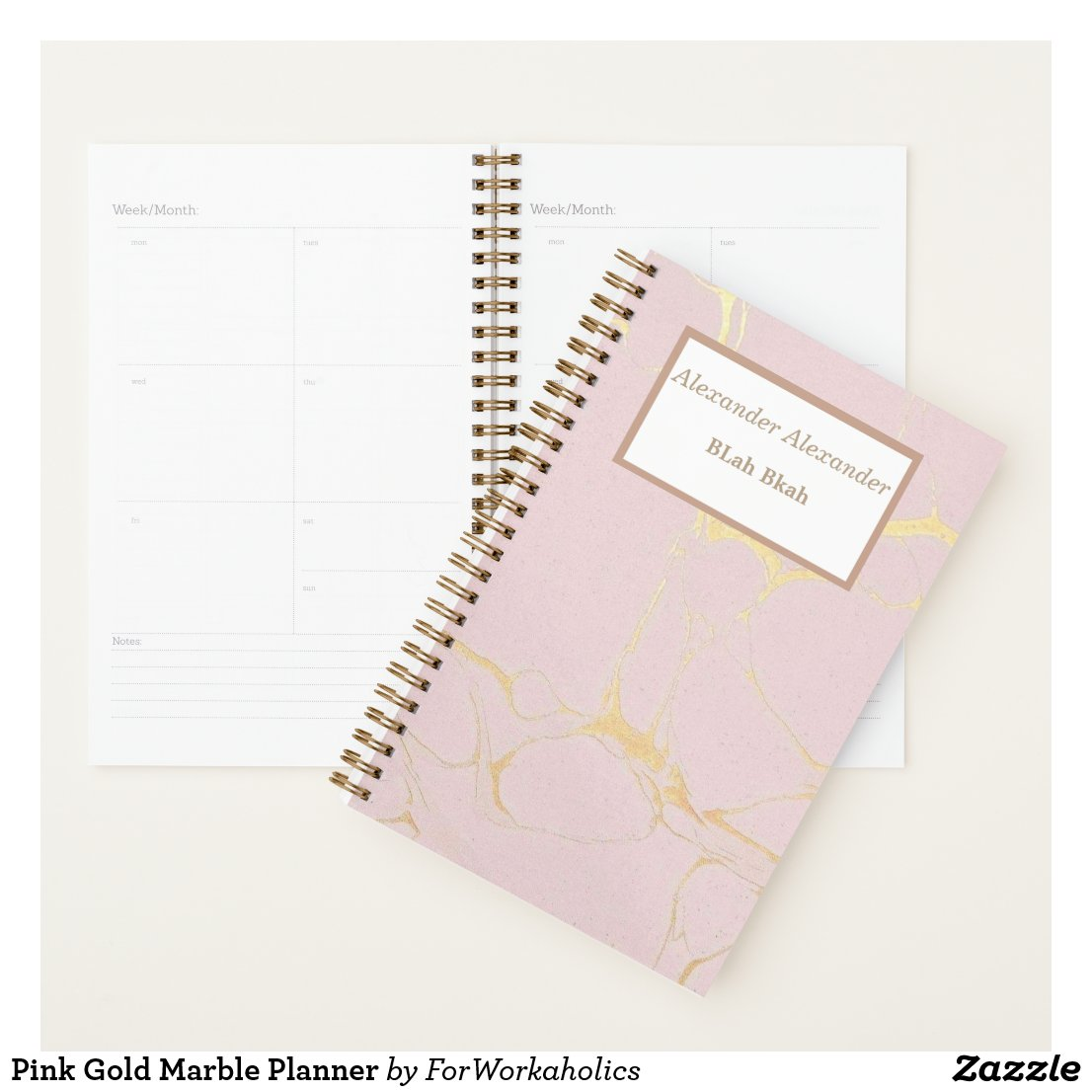 Pink Gold Marble Planner