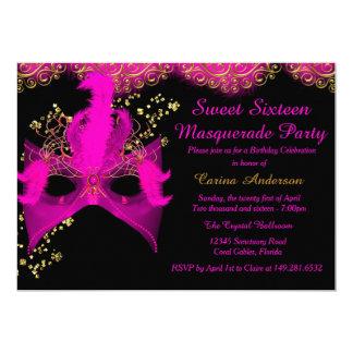 Pink Gold Mask Masquerade Sweet 16 Birthday 5x7 Paper Invitation Card