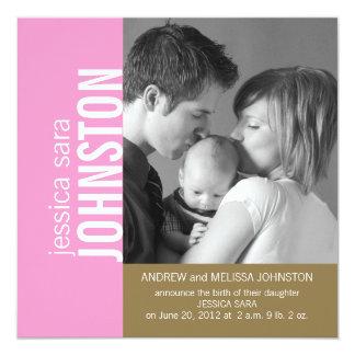 Pink Gold Modern Baby Birth Announcement