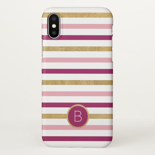 Pink Gold Modern Stripes Monogram iPhone X Case