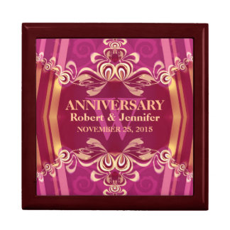 Pink Gold Monogram Wedding Anniversary Gift Box
