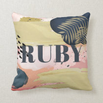 Pink Gold Navy Abstract Pattern Throw Pillow
