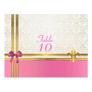 Pink & gold on  white damask table number post card