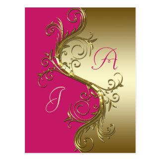 Pink Gold Ornate Swirls Save The Date Postcard