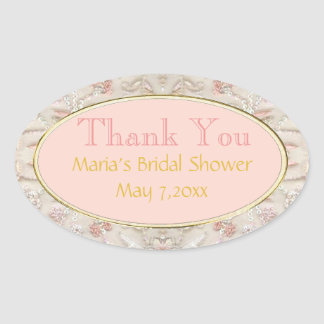Pink Gold Oval Bridal Thank You Stickers