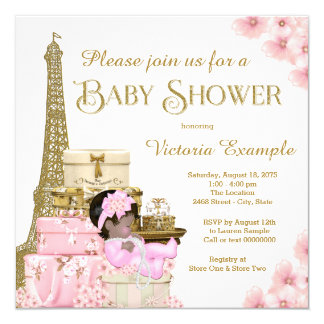 Pink Gold Paris Ethnic Girl Baby Shower Card