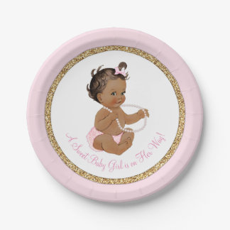 Pink Gold Pearl Ethnic Girl Baby Shower Paper Plate