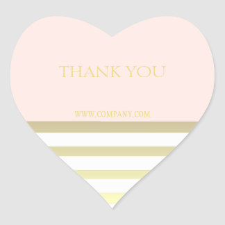 Pink & Gold Personal or Business Thank You Heart Sticker