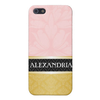 Pink & Gold Personalized Damask iPhone 4 Case