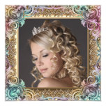 Pink Gold Photo Sweet Sixteen Birthday Party Custom Announcement