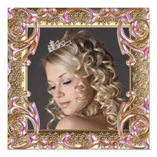 "Pink Gold Photo Sweet Sixteen Birthday Party 5.25"" Square Invitation Card"